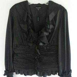 Samuel Dong Black Front Ruffles Blouse & Camisole